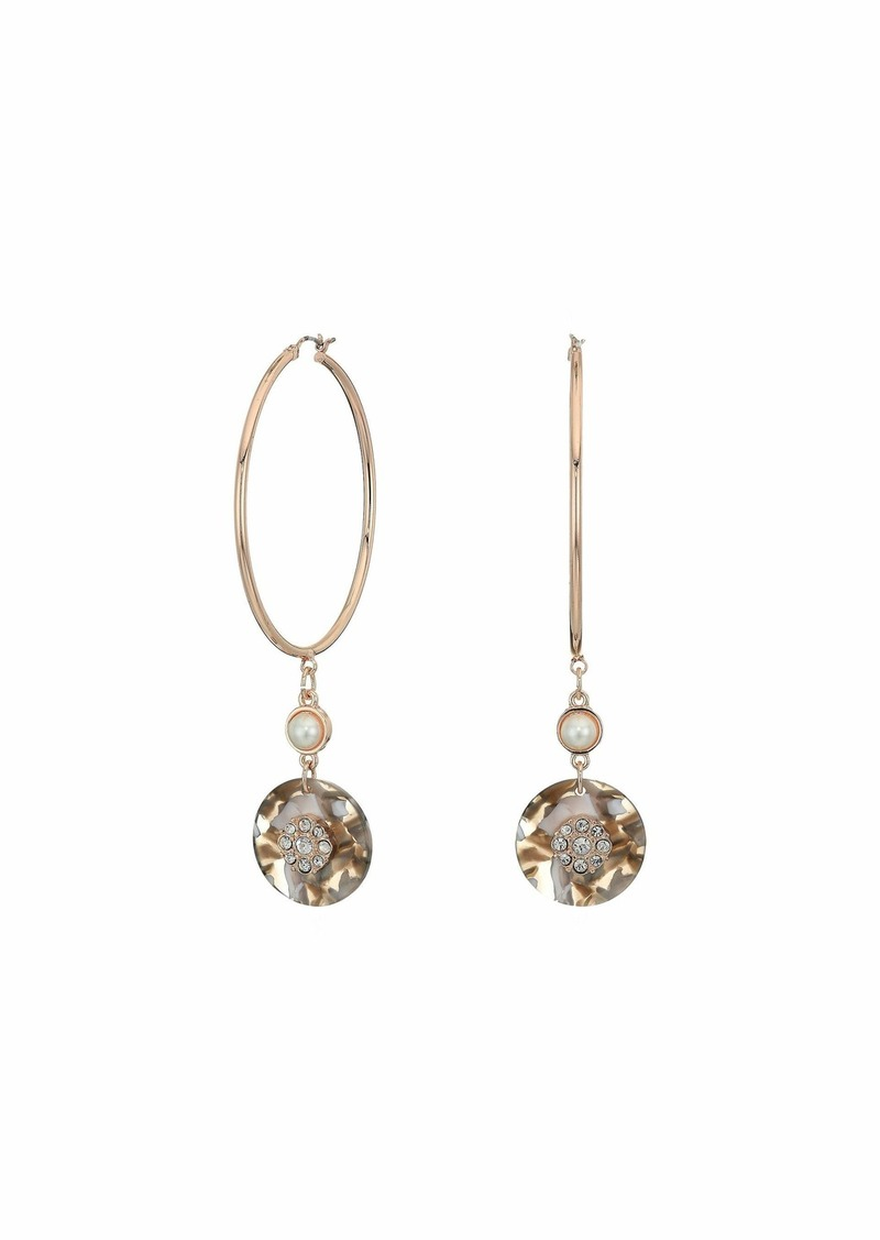 GUESS Hoop with Disc Charm Drop Earrings