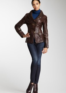 GUESS Knit Collar Leather Jacket