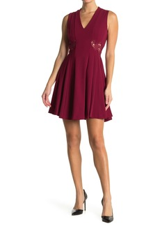 GUESS Lace Trim Scuba V-Neck Dress