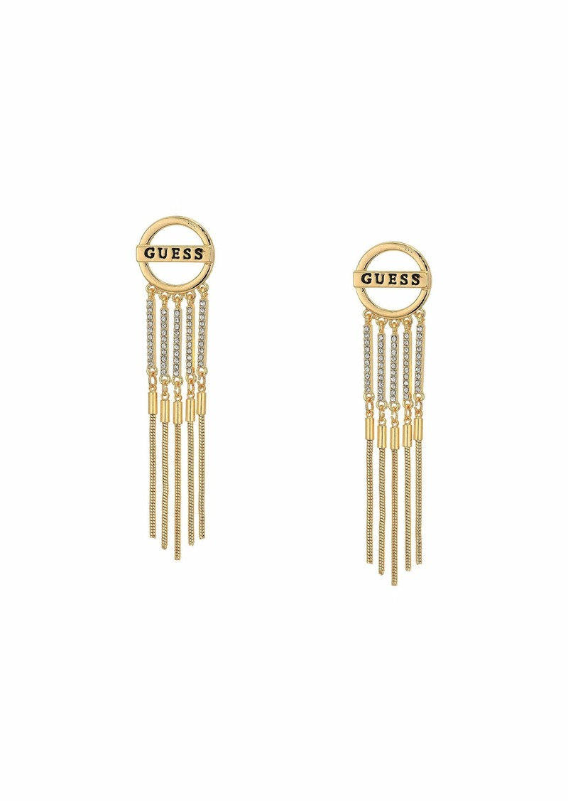 GUESS Logo Button with Chain Fringe Drop Earrings