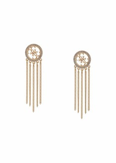 GUESS Logo Drop Earrings with Chain Fringe
