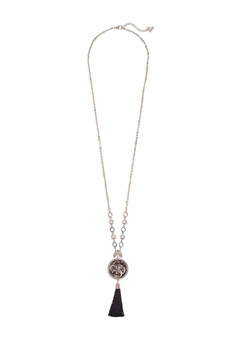 GUESS Logo Pendant with Tassel Necklace