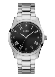 Guess Men's Stainless Steel Black Diamond Watch 42MM, Created for Macy's