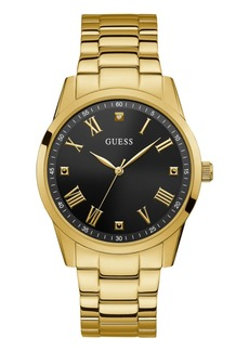 Guess Men's Stainless Steel Gold-Tone Diamond Watch 42MM, Created for Macy's
