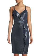 GUESS Metallic Ruffle Sheath Dress