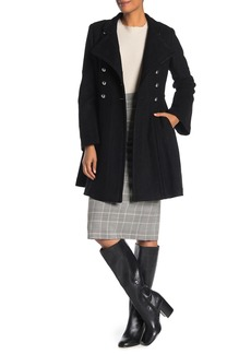 GUESS Military Double-Breasted Skirted Coat