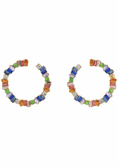 GUESS Multicolored Stone Front Facing Hoop Earrings
