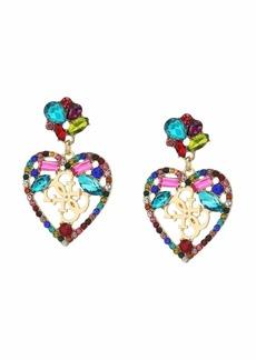 GUESS Multicolored Stone Heart Drop Earrings w/ Logo