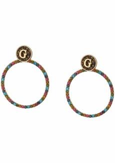GUESS Multicolored Stone Log Doorknocker Earrings