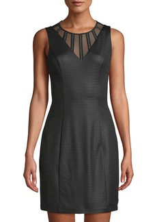 GUESS Ottoman Illusion-Neck Mini Dress