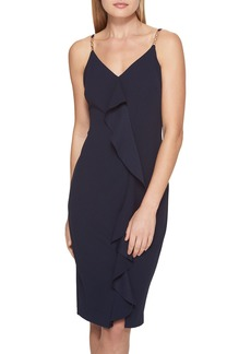 GUESS Ruffle-Front Scuba-Crepe Dress