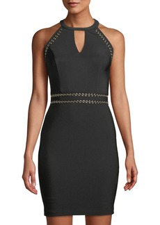 GUESS Shiny Ottoman Cutout Dress W/ Grommet Embellishment