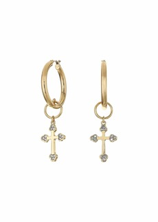 GUESS Small Hoop with Cross Charm Drop Earrings