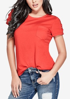Ss Lace Up Sleeve Tee