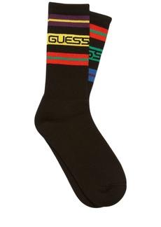 GUESS Striped Cotton Blend Socks