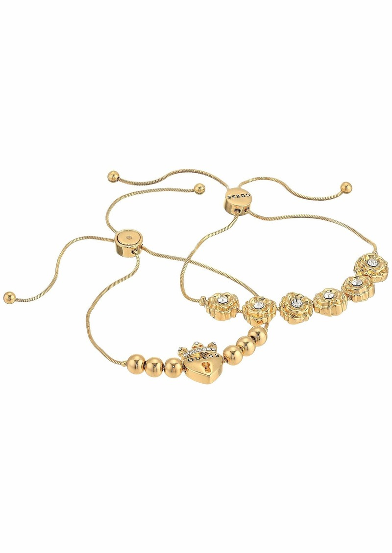 GUESS Two-Piece Slider Close Dainty Bracelet Set