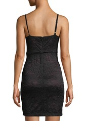 GUESS Velvet-Trimmed Lace Bodycon Dress