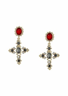 GUESS Vintage Look Cross Drop Earrings