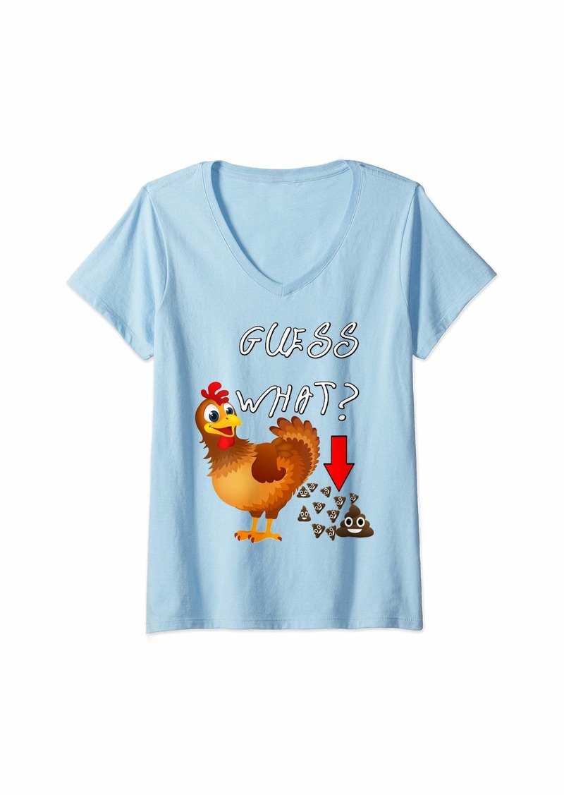 Womens Funny Chicken Butt Guess What? Chicken Happy Face Poo V-Neck T-Shirt