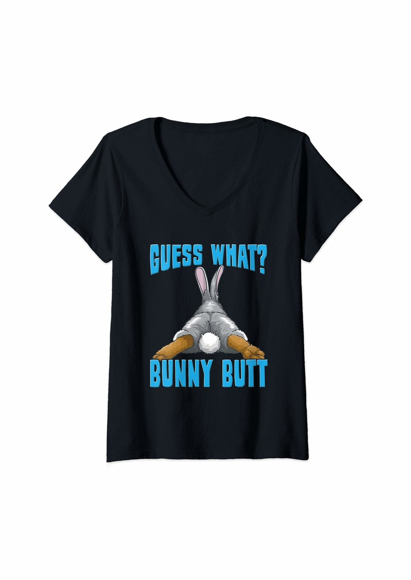 Womens Funny Guess What? Bunny Butt Rabbit Lovers Gift V-Neck T-Shirt