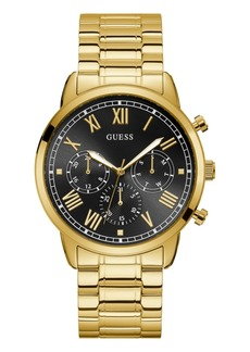 Guess Men's Gold-Tone and Black Stainless Steel Multi-Function Watch, 44mm