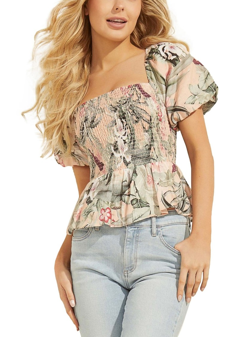 GUESS Lindy Floral Smocked Linen Top