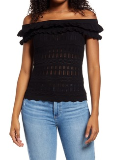 Women's Guess Nola Off The Shoulder Pointelle Sweater
