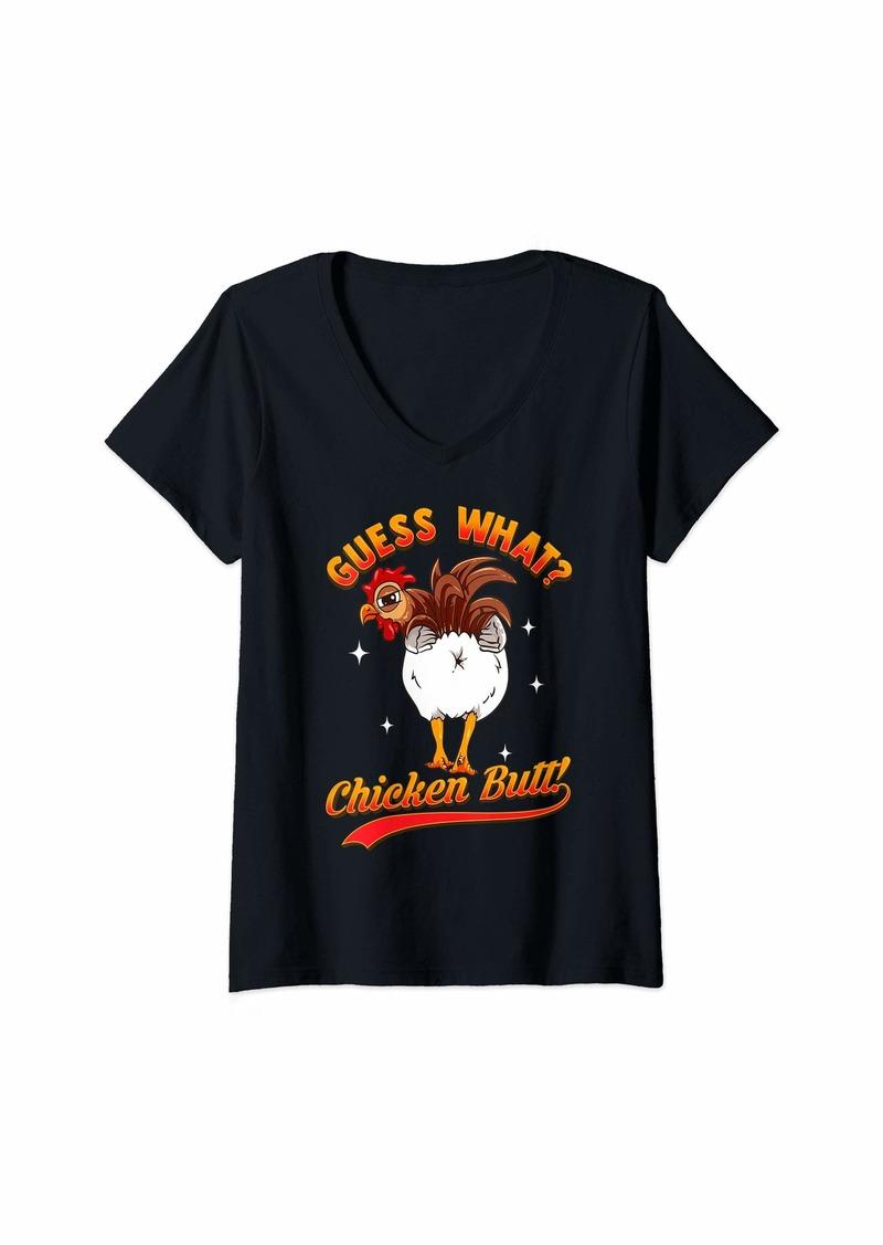 Womens GUESS WHAT? CHICKEN BUTT! Funny Kids Joke V-Neck T-Shirt
