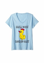 Womens Guess what chicken butt V-Neck T-Shirt