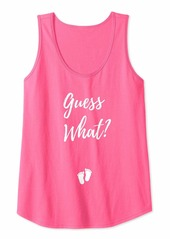 Womens Guess What? Pregnancy Announcement Expecting Mom Baby Girl Tank Top