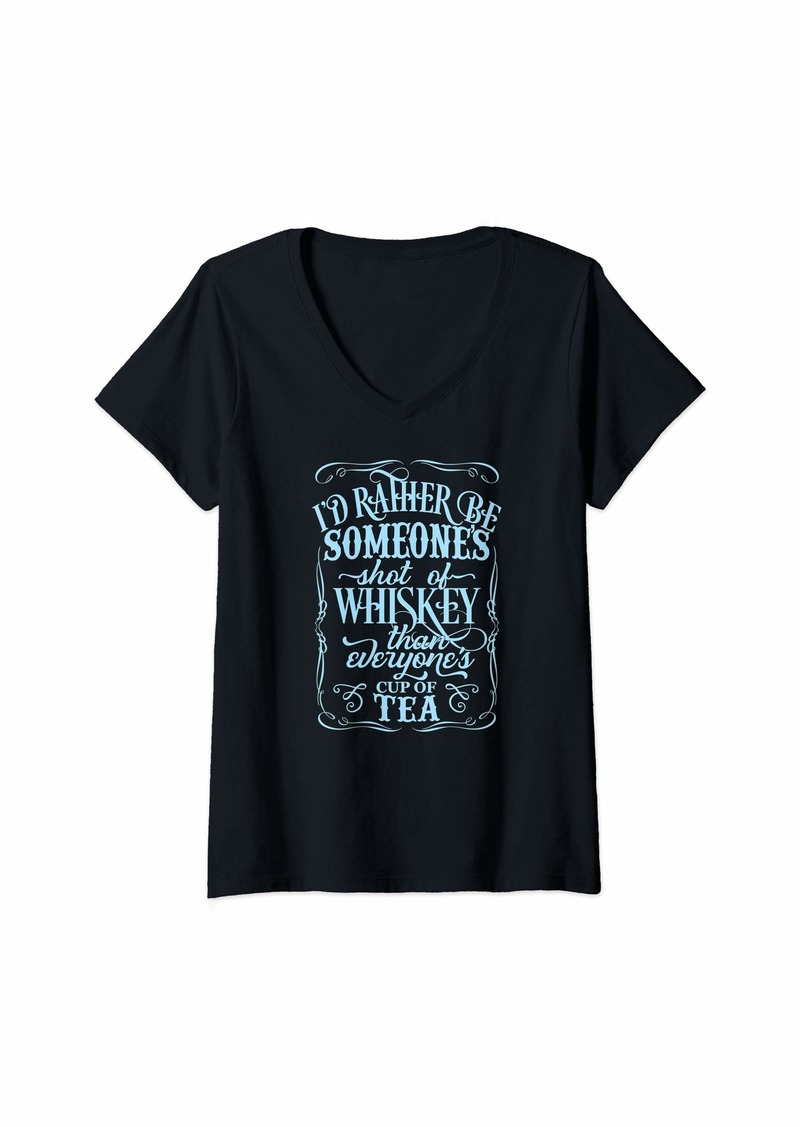 GUESS Womens Rather Be Someone Shot Of Whiskey Than Everyones Cup Of Tea V-Neck T-Shirt
