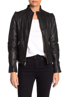 GUESS Woven Leather Jacket (Petite)