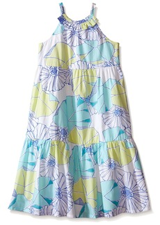 Gymboree Little Girls Blue and Aqua Floral Print Tiered Dress Multi
