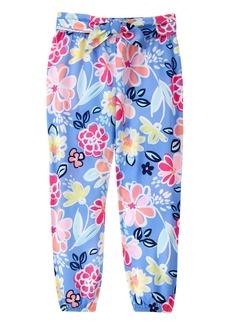 Gymboree Big Girls' Blue Floral Print Soft Pant Tie Waist