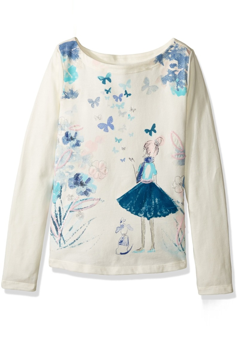 Gymboree Big Girls' Long Sleeve Butterfly Graphic Tee