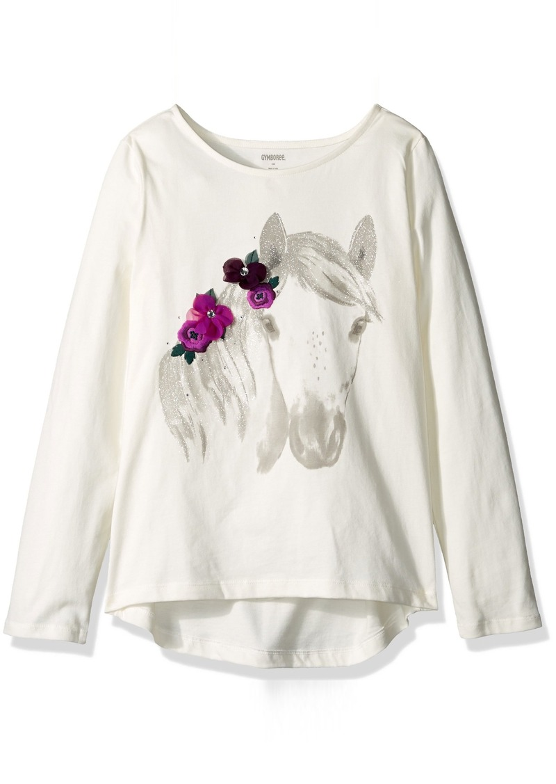 Gymboree Big Girls' Long Sleeve Horse Flowers Graphic Tee