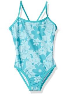 Gymboree Big Girls' One Shoulder Blue Floral Print Onepiece  XS