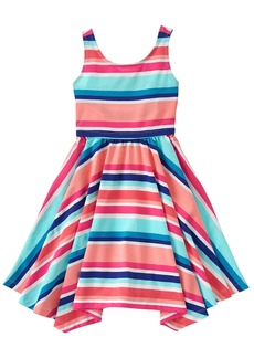 Gymboree Big Girls' Short Sleeve Stripe Print Dress Multi
