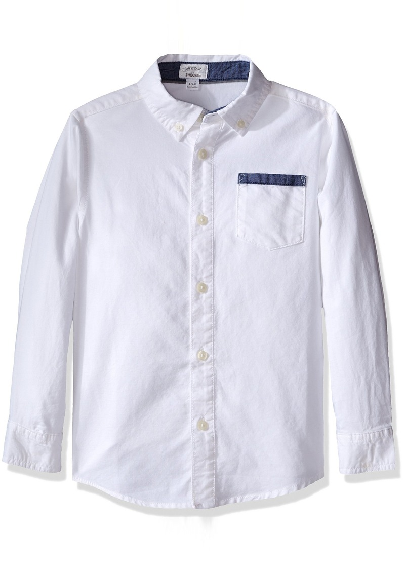Gymboree Big Boys' Ivory Woven Shirt Multi M