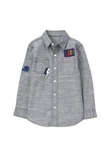 Gymboree Boys' Chambray Patch Button Down Shirt  L