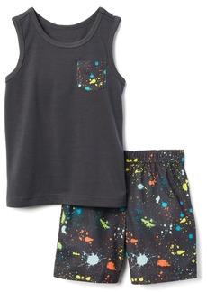 Gymboree Boys' Little 2-Piece Sleeveless Tight Fit Pajama Set  XS