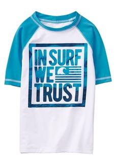 Gymboree Boys' Little Short Sleeve Rashguard White in surf Web Thrust S
