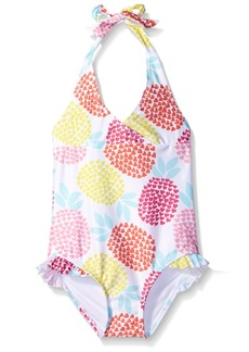 Gymboree Big Girls' White Halter Swimsuit with Pineapple Print