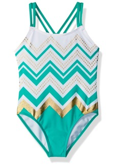 Gymboree Girls' Little 1-Piece Cross Back Printed Swimsuit  S