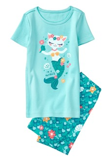 Gymboree Girls' Little 2-Piece Short Sleeve Tight Fit Pajama Set