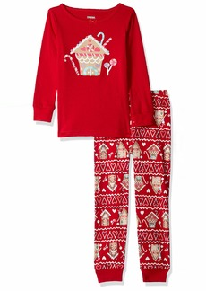 Gymboree Girls' Little 2-Piece Tight Fit Long Sleeve Pajama Set red
