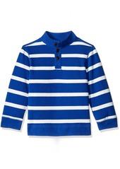 Gymboree Little Boys' Blue Striped Mockneck Flatback Pullover Surf The Web