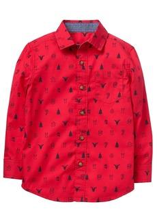 Gymboree Boys' Little Button Up Shirt Tango red L