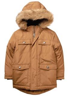 Gymboree Boys' Little Faux Fur Hooded Jacket Dexter TAN S