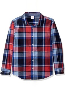Gymboree Boys' Little Long Sleeve Plaid Woven Shirt Rococo red S